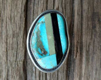 Turquoise and Black Coral Geometric Inlay Statement Ring - Boho Statement Ring - One of a Kind Handmade Sterling Silver Inlay Ring - Size 9