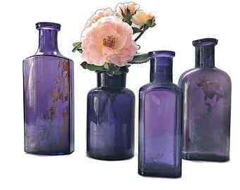 Old Purple Bottle Collection Antique Purple Apothecary Bottles Rustic Wedding Decor Decorative  Bottle Vases Violet