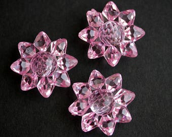 Three (3) Pink Sunflower Buttons. Light Pink Buttons. Clear Acrylic Buttons. Plastic Buttons with Rhinestone Centers. 28mm