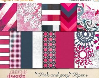 80% Off SALE Digital paper, Digital Scrapbook paper pack - Instant download - 12 Digital Papers - Pink and grey