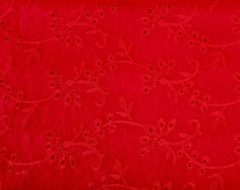 Red Paisley Embroidered Eyelet Woven Cotton, 1 Yard