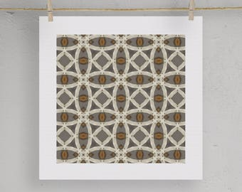 Batik Boho Pattern Graphic Print Moroccan Wall Art  5X5 8X8 12X12 Matting Options