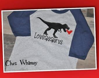 Valentine's Day Shirt, Loveasaurus Shirt, T-Rex Shirt, Dinosaur Shirt, Heart Shirt, Boy's Valentine Day Shirt