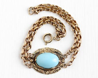 Vintage Rosy Yellow Gold Filled & Brass Tone Simulated Turquoise Cabochon Bracelet - 1930s Victorian Revival Light Blue Glass Stone Jewelry