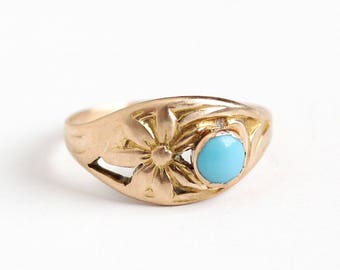 Antique 10k Rosy Yellow Gold Turquoise Flower Ring - Vintage Art Nouveau 1910s Size 5 Blue Round Cabochon Fine Floral Jewelry