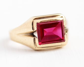Created Ruby Ring - Vintage 10k Rosy Yellow Gold Statement - Size 5 3/4 Mid Century 1940s Rectangular Red Stone Fine Jewelry July Birthstone