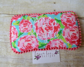 Hot Pink and Aqua Flowers Travel Baby Wipe Case, Personalized, Baby Shower Gift, Lily Floral, Diaper Bag Wipe Clutch, Wipe Holder