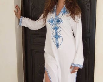 10% OFF Summer SALE // White Moroccan Caftan Kaftan Dress - Bedouin Style-loungewear ,resortwear,spa robe, for Birthdays or Maternity Gifts,