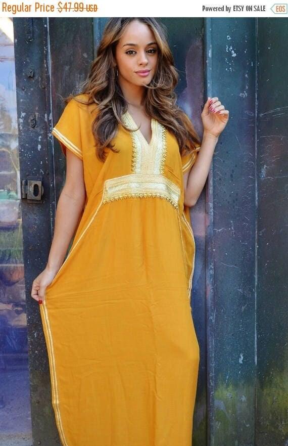 25% OFF Autumn Sale// Kaftan Dark Yellow Moroccan Caftan Kaftan Dress -resortwear,loungewear, maxi dresses, birthdays, honeymoon, maternity