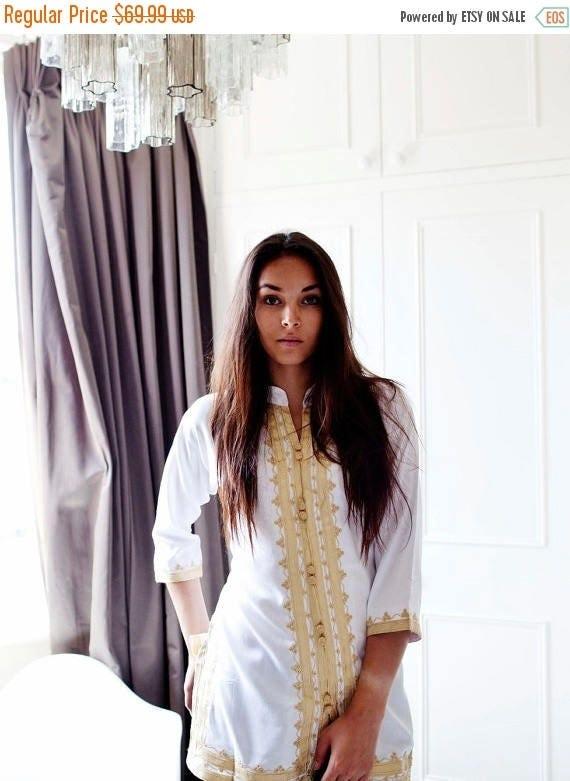 Autumn Dress 20% OFF/ Spring Boho| Handmade White & Gold Moroccan Tunic-perfect for birthday gifts, beach, resort wear, honeymoon gifts, boh
