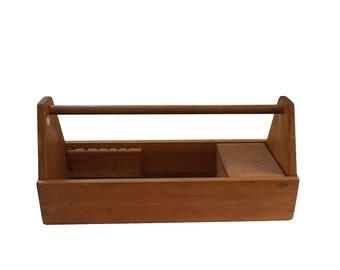 Wooden Carpenters Tool Caddy Box  Carrying Tote Fixer Upper Wood Garden Farmhouse Decor Flea Market