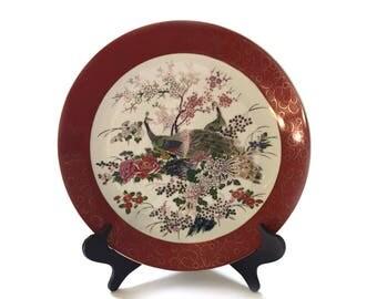 "14"" Satsuma Peacock Decorator Decor Plate and Stand"