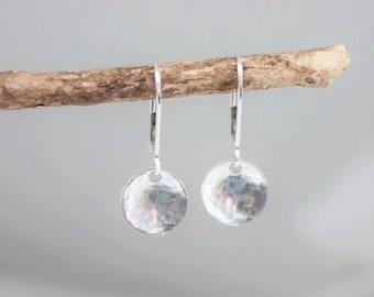 tiny hammered sterling silver disc earrings | dainty silver earrings | delicate jewelry | tiny token | dangle earrings | simple earrings