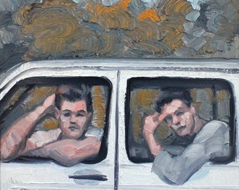 Two Pretty Young Men on A Trip During Summer Break, oil on masonite panel, 18x24 inches by Kenney Mencher