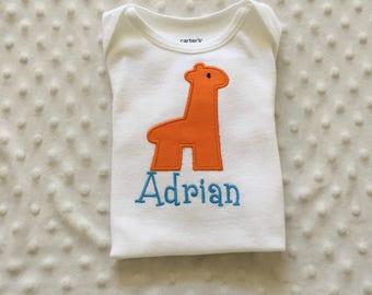 Baby Boy  Personalized  Bodysuit with Giraffe Applique