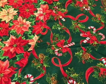 Christmas Fabric 3 yards Candy Cane Bows Poinsettias