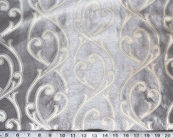 Custom Curtains Valance Roman Shade Shower Curtains in Silver / Ivory Scroll Pattern Fabric