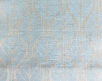 Custom Curtains Valance Roman Shade Shower Curtains in Light Aqua Leaf Pattern Fabric