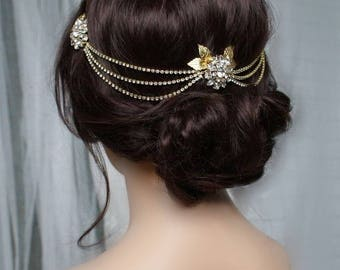Draped chain Headpiece -  Gold Wedding Headpiece - Gold-tone Bridal Hair Accessory - Boho wedding hair jewellery