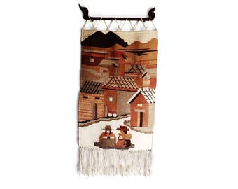 Woven Wool Tapestry- Peruvian Vintage and Hand Made Woven Art Wall Hanging