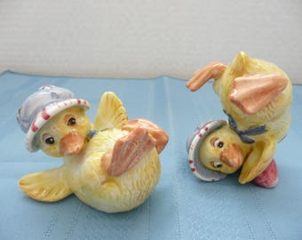 Pair of Porcelain Fitz and Floyd Duckling Figurines, Fitz and Floyd Duck Figurines