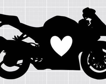 Suzuki GSXR Heart Decal 6 Inch Vinyl Sticker