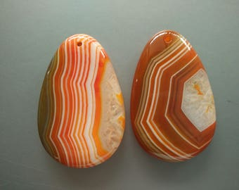 As Pictured- 2pcs -Large Orange Teardrop agate Pendant 35x55mm- #1025020