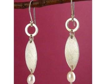 Sterling Silver Modernist Ellipse & Ring Drop Earrings with White Pearl Drops, Modernist, Pierced