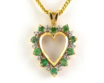 10K Yellow Gold, Emerald & Diamond Open Heart Pendant Necklace
