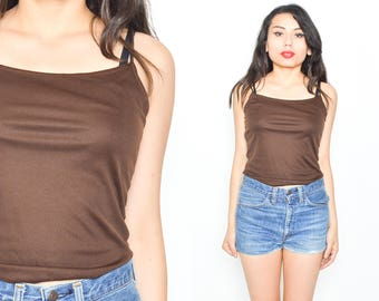 BROWN SPAGHETTI TANK 1990's Grunge Mod Minimalist. Brown Top size Small/Medium. Fitted Tank Top. Spaghetti Strap Size Small