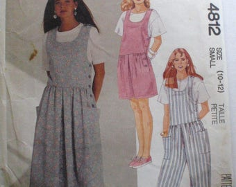 McCall's 4812 - Woman's Romper, Jumpsuit or Jumper Sewing Pattern - Size Small (10-12), Bust 32 1/2 - 34