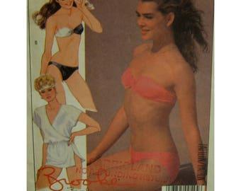 brooke Shields Bikini Pattern, Low Rise Panties, Small Bra, Styrpless, Beach Cover-up, McCalls No. 9061 Size 8 10