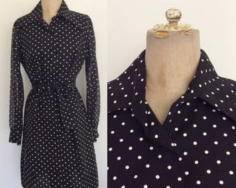 1970's Cotton B&W Polka Dot Belted Shift Dress Size Small Medium by Maeberry Vintage
