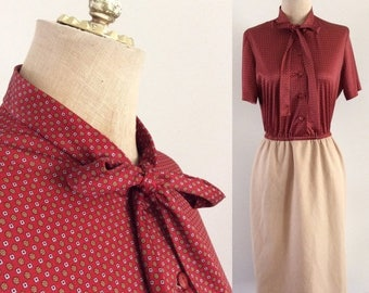 30% OFF 1980's Two Tone Secretary Dress with Ascot Bow Pusdy Bow Tan & Maroon Vintage Dress Size Small Medium by Maeberry Vintage