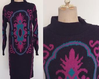 1980's Black Acrylic & Lambs Wool Sweater Dress Size Small Medium by Maeberry Vintage