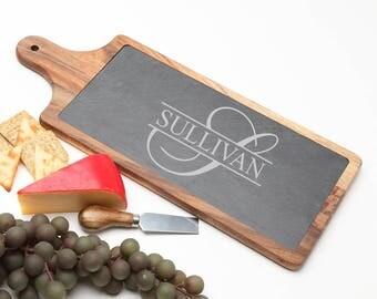 Wood Cheese Board, Personalized Slate Board, Acacia Wood Slate Cheese Board, Slate serving board, Personalized Wedding, Housewarming D25