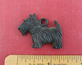 Black Celluloid Dog Pendant / Fob or Large Charm - Vintage Scottie Dog, Scotty Dog