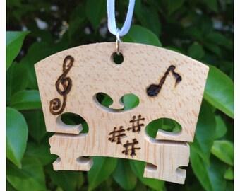 Wood Burning Music Notes Ornament on Violin Bridge