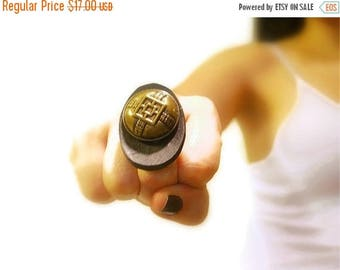 CIJ SALE Vintage Button Ring, Bold, Retro Adjustable, Wood Button, Brass Vintage Chinese Button