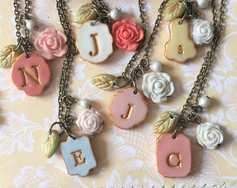 Bridesmaids mismatched Florals Pink, Blush - Necklaces for floral bridesmaids dresses with personalized initial- Set of 3,4,5,6,7, 8