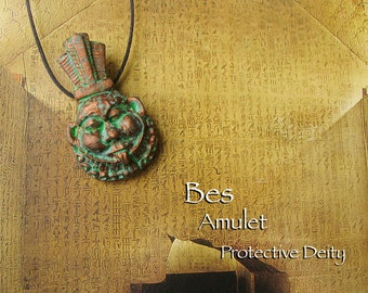 Bes Amulet -  Protection Deity - Guardian of Mothers and Children - Patron of Music and Dance - Handcrafted Clay Pendant -Aged Copper Patina
