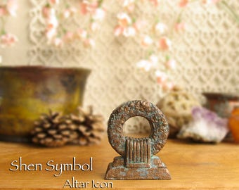 Shen Symbol Altarpiece - Symbol of Infinity and Eternity - Protective Symbol - Handcrafted Altar Icon with Bronze Pigment Patina Finish