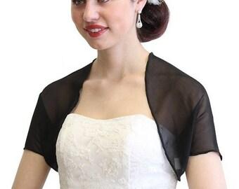 Summer Sale Black Chiffon Jacket, Black chiffon shrug, Black bridal bolero 810Ch-BLK
