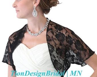 Valentines Day Bridal Bolero jacket, bridal lace jacket Black, bridal shrug, wedding lace jacket 720ROS-BLK