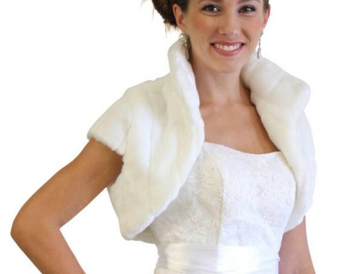 Valentine's Day White Faux Fur Shrug Bridal Bolero Crop Jacket 603NM-WH-L