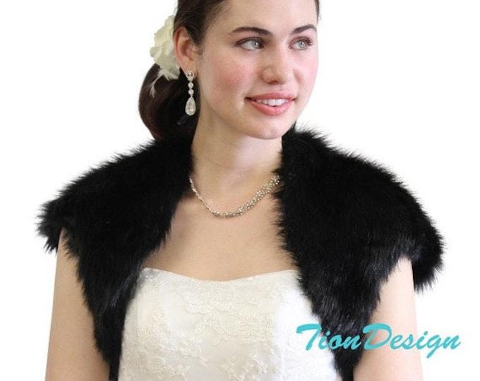 Easter Sale Black Faux Fox Fur Bridal Bolero Crop Jacket, Fur Shrug, Fur Coat, Fur Stole