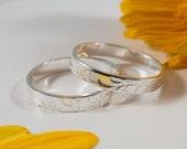 Oak Leaf Womans Wedding Band: A petite 3mm wide recycled sterling silver Oak leaf textured wedding band