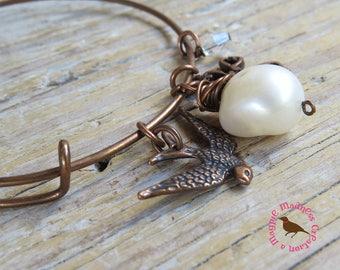 Pearl, Sparrow Antiqued Copper Bangle Bracelet, Wings, Cross, Pearl, Bangle Bracelet, Wire Wrap by MagpieMadnessJewelry on Etsy