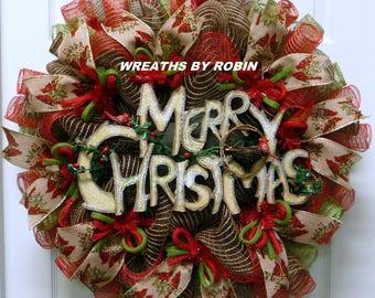 Merry Christmas Wreath, Rustic Xmas Wreath, Red Moss Chocolate Tan Wreath - Item 2963
