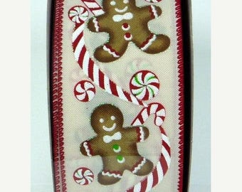 ON SALE 2.5 Inch Cream Red White Brown Gingerbread Man, 5 Yards or 10 Yard, Deco Mesh Supplies
